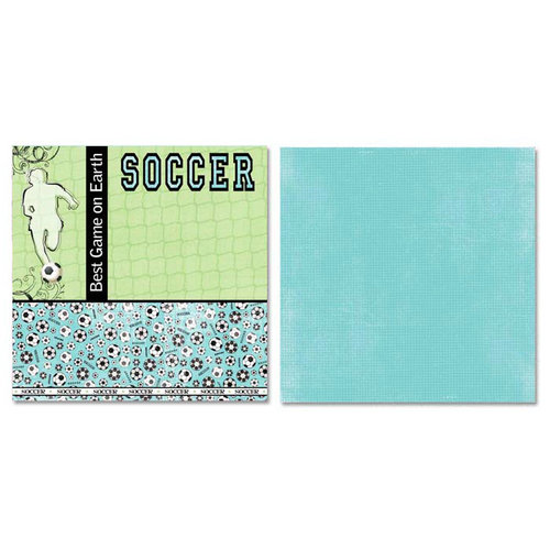 Carolee's Creations - Adornit - Soccer Collection - 12 x 12 Double Sided Paper - Back of the Net