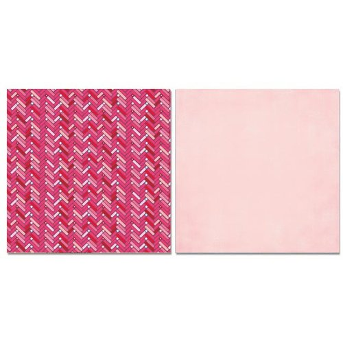 Carolee's Creations - Adornit - Happy Hearts Collection - 12 x 12 Double Sided Paper - Happy Chevron