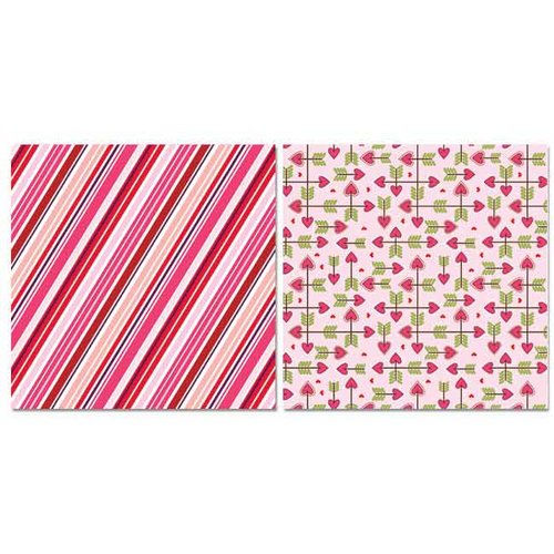 Carolee's Creations - Adornit - Happy Hearts Collection - 12 x 12 Double Sided Paper - Happy Stripe
