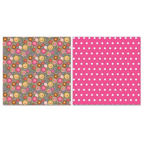 Carolee's Creations - Adornit - Pink Dazzled Collection - 12 x 12 Double Sided Paper - Poppin' Blossoms Gray