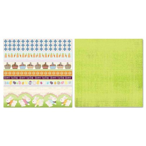 Carolee's Creations - Adornit - Easter Collection - 12 x 12 Double Sided Paper - Bunny Stripe Cut Apart