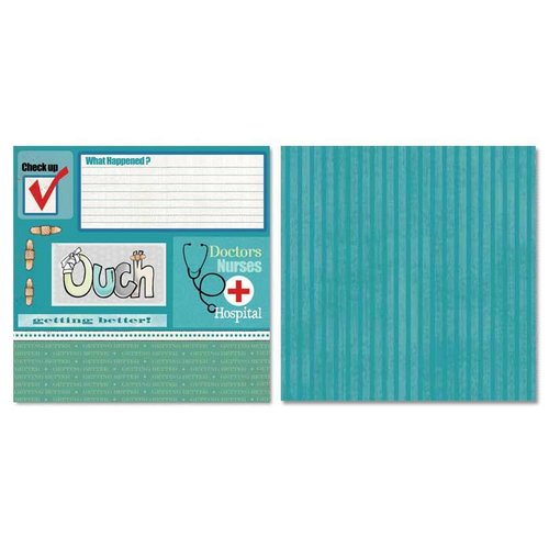 Carolee's Creations - Adornit - Ouch Collection - 12 x 12 Double Sided Paper - Check Up Cut Apart