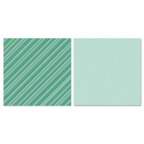 Carolee's Creations - Adornit - Ouch Collection - 12 x 12 Double Sided Paper - Teal Stripes