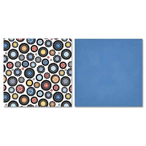 Carolee's Creations - Adornit - Rev 'Em Up Collection - 12 x 12 Double Sided Paper - Polka Dot Wheels