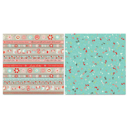 Carolee's Creations - Adornit - Nested Owls Coral Collection - 12 x 12 Double Sided Paper - Ticker Tape