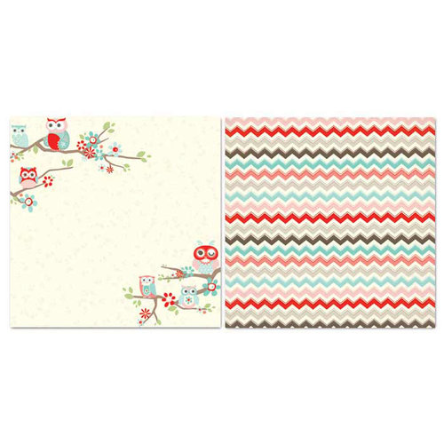 Carolee's Creations - Adornit - Nested Owls Coral Collection - 12 x 12 Double Sided Paper - Owl Landing