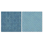 Carolee's Creations - Adornit - Blender Basics Collection -12 x 12 Double Sided Paper - Blue Damask