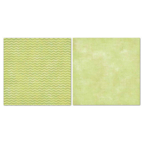 Carolee's Creations - Adornit - Blender Basics Collection -12 x 12 Double Sided Paper - Green Chevron