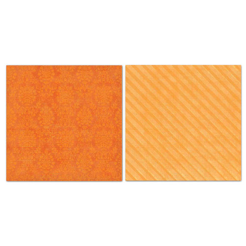 Carolee's Creations - Adornit - Blender Basics Collection -12 x 12 Double Sided Paper - Orange Damask