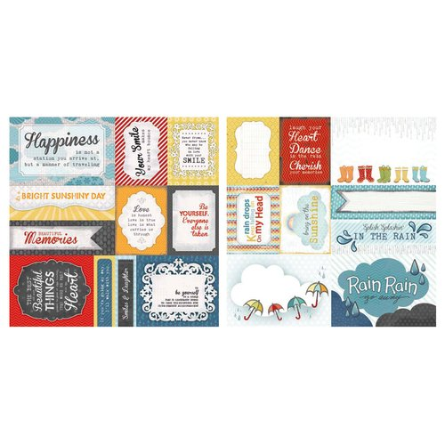 Carolee's Creations - Adornit - Rainy Days and Sunshine Collection - 12 x 12 Double Sided Paper - Raining Cut Apart