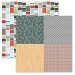 Carolee's Creations - Adornit - Timberland Critters Collection - 12 x 12 Double Sided Paper - Patchwork Tickertape