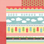 Carolee's Creations - Adornit - Summertime Memories Collection - 12 x 12 Double Sided Paper - Summer Tickertape