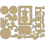 Carolee's Creations - Adornit - Time Flies Collection - Wood Shapes - Happy