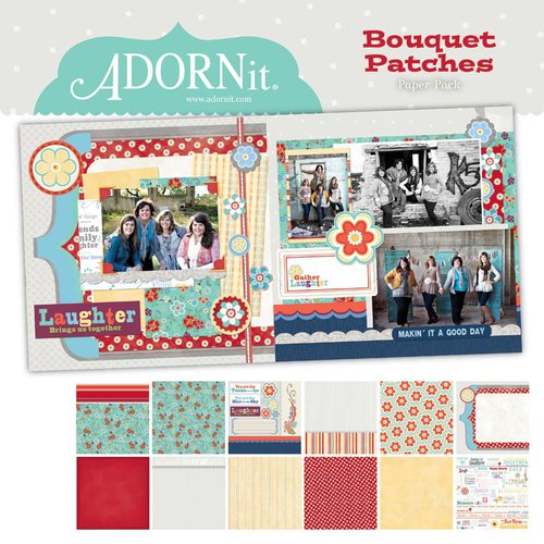 Carolee's Creations - Adornit - Bouquet Patches - 12 x 12 Paper Pack