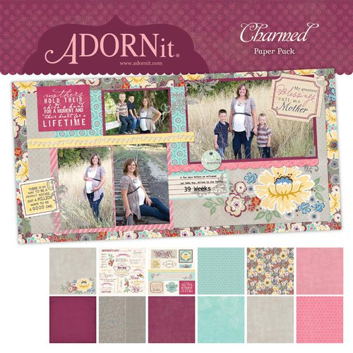 Carolee's Creations - Adornit - Charmed Collection - 12 x 12 Paper Pack