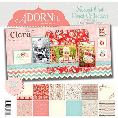 Carolee's Creations - Adornit - Nested Owls Coral Collection - 12 x 12 Paper Pack