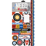 Carolee's Creations - Adornit - Rev 'Em Up Collection - Cardstock Stickers - Need for Speed