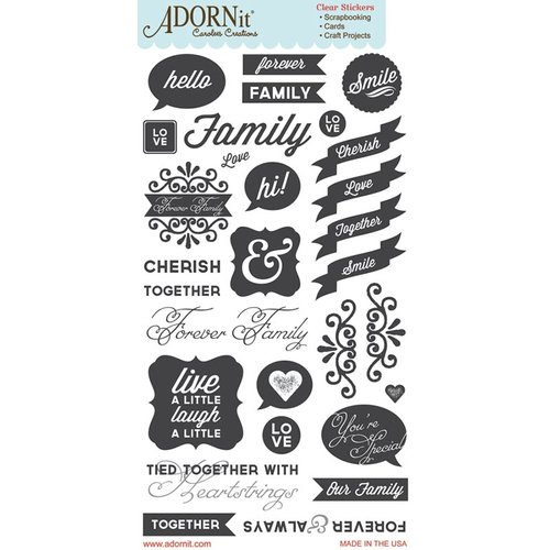 Carolee's Creations - Adornit - Forever Family Collection - Clear Stickers - Heartstrings