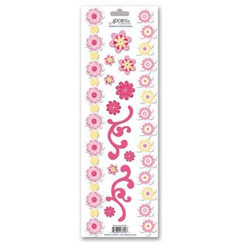 Carolee's Creations - Adornit - Cardstock Stickers - Daisy Sweet Pink Border, CLEARANCE