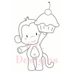 CC Designs - Cling Mounted Rubber Stamps - Birthday Monkey