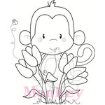 CC Designs - Cling Mounted Rubber Stamps - Tulip Monkey