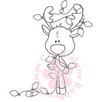 CC Designs - Cling Mounted Rubber Stamps - Reindeer Lights