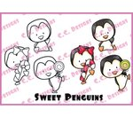 CC Designs - Cling Mounted Rubber Stamps - Sweet Penguins