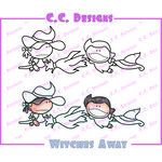 CC Designs - Meoples Collection - Halloween - Cling Mounted Rubber Stamps - Witches Away