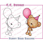 CC Designs - Cling Mounted Rubber Stamps - Fluffy Bear Balloon