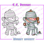 CC Designs - Cling Mounted Rubber Stamps - Halloween - Mummy Monkey