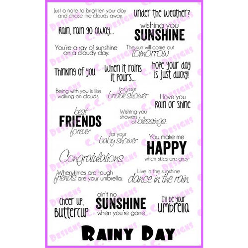 CC Designs - Cling Mounted Rubber Stamps - Rainy Day Sentiments