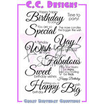 CC Designs - Cling Mounted Rubber Stamps - Great Birthday Greetings