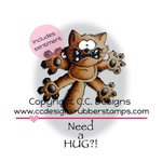 CC Designs - Doodle Dragon Collection - Cling Mounted Rubber Stamps - Scaredy Cat