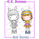 CC Designs - Swiss Pixie Collection - Cling Mounted Rubber Stamps - Bee Olivia