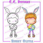 CC Designs - Swiss Pixie Collection - Cling Mounted Rubber Stamps - Bunny Olivia