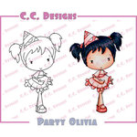 CC Designs - Swiss Pixie Collection - Cling Mounted Rubber Stamps - Party Olivia