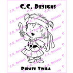 CC Designs - Robertos Rascals Collection - Cling Mounted Rubber Stamps - Pirate Twila