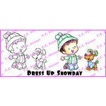 CC Designs - Robertos Rascals Collection - Cling Mounted Rubber Stamps - Dress Up Snow Day