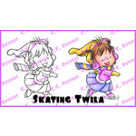 CC Designs - Robertos Rascals Collection - Cling Mounted Rubber Stamps - Skating Twila