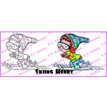 CC Designs - Robertos Rascals Collection - Cling Mounted Rubber Stamps - Skiing Henry