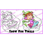 CC Designs - Robertos Rascals Collection - Cling Mounted Rubber Stamps - Snow Fun Twila