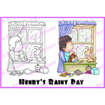 CC Designs - Robertos Rascals Collection - Cling Mounted Rubber Stamps - Henrys Rainy Day