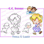 CC Designs - Robertos Rascals Collection - Cling Mounted Rubber Stamps - Twila and Lamby