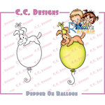 CC Designs - Robertos Rascals Collection - Cling Mounted Rubber Stamps - Pepper on Balloon