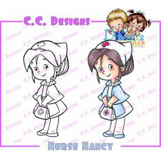 CC Designs - Robertos Rascals Collection - Cling Mounted Rubber Stamps - Nurse Nancy