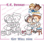 CC Designs - Robertos Rascals Collection - Cling Mounted Rubber Stamps - Get Well Soon