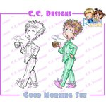 CC Designs - Robertos Rascals Collection - Cling Mounted Rubber Stamps - Good Morning Sue