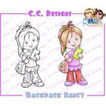 CC Designs - Robertos Rascals Collection - Cling Mounted Rubber Stamps - Backpack Nancy