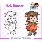 CC Designs - Robertos Rascals Collection - Halloween - Clling Mounted Rubber Stamps - Pumpkin Twila