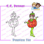 CC Designs - Robertos Rascals Collection - Halloween - Cling Mounted Rubber Stamps - Pumpkin Sue